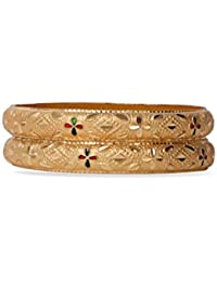 Set Of 2 Traditional Jewellery Gold Plated Bracelets For Daily Use With Red And Green Intricate Meenakari Work...
