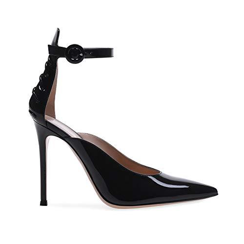 WHL.LL Damen PU schlanker hoher Absatz Pumps Hohl Fesselriemen Schnalle Hoher Absatz Einzelne Schuhe Rutschfest Einzelne Schuhe (Absatzhöhe: 15cm), Black,36