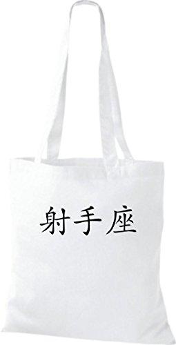 diverse Schütze ShirtInStyle Stoffbeutel Farbe Baumwolltasche white Schriftzeichen Chinesische Beutel qwxpUxYH