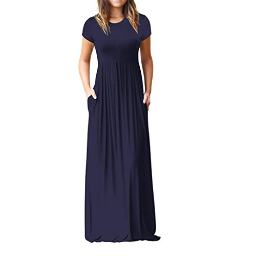 Malloom Femme surdimensionnées solide à manches courtes lâche longue robe de poche au sol
