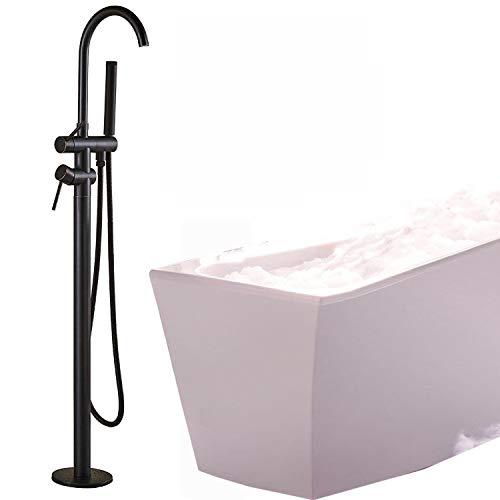 Rozine robinet de douche pour salle de bain baignoire Bec rotatif deux poignées ABS Douche à main Bronze huilé Fixation au sol Laiton robinet mitigeur