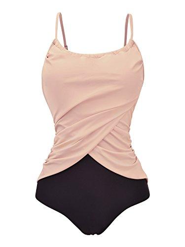 Große Größe Elegant Monokini Einteilig Bauchweg Bademode Push up Badebekleidung Badeanzüge Bauch weg Khaki EU 40 (Herstellergröße XL) (Damen Badeanzug)