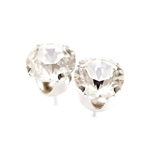 pewterhooter 925 Sterling Silver stud earrings made with sparkling diamond white crystal from SWAROVSKI� for Women