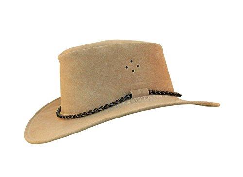 Kakadu Outdoor Lederhut Queenslander aus Wildleder in beige | mit hoher Krone und Rundkordel | Herren Damen Größe L | 2. Wahl
