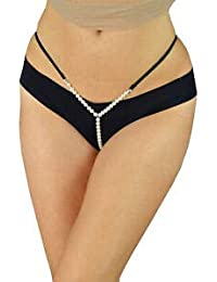 8e52f318e3f LOVERG Panties for Women 1 Piece Underwear Pearl G String (Free Size-28-