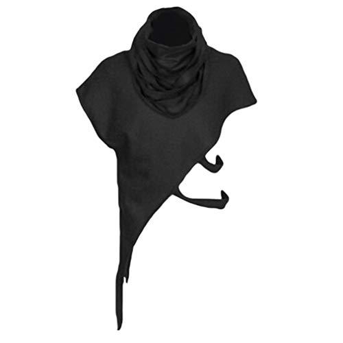 Herren Gothic Schals Tops Mittelalter Retro Stolen Hemd Unregelmäßiger Saum Lace-up Shirt Hollow Kurzarm Tops Renaissance Victoria Bühne Kleidung (Männer Kleidung Renaissance)