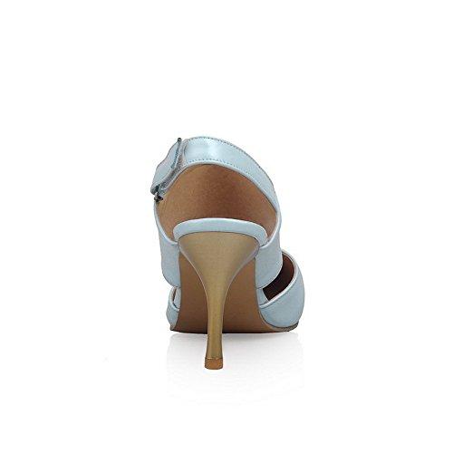 VogueZone009 Donna Puro Luccichio Tacco A Spillo Punta Chiusa Velcro Sandali Azzurro