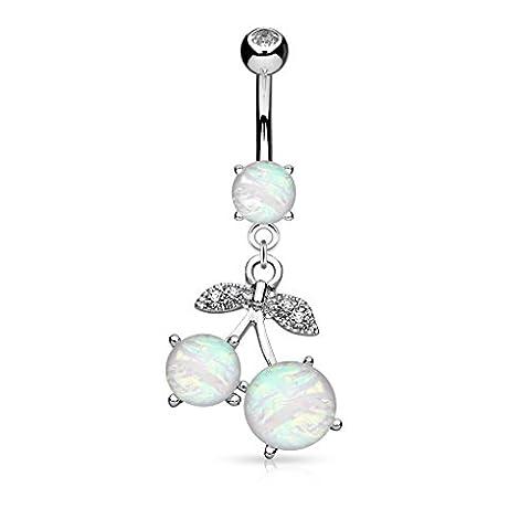 KULTPIERCING - Bauchnabel Piercing Schmuck Barbell Silber Opal Kirschen Anhänger