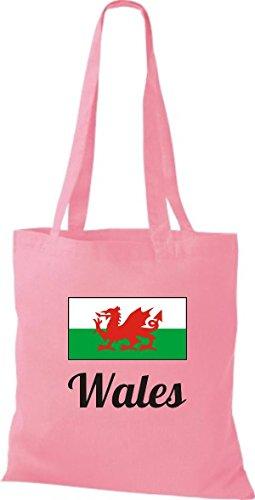 ShirtInStyle Stoffbeutel Baumwolltasche Länderjute Wales Farbe Pink rosa