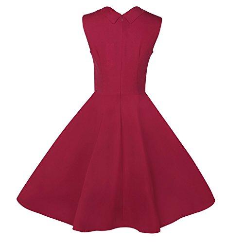 Elite99® - Robe - Trapèze - Femme Noir Noir Noir - Rouge