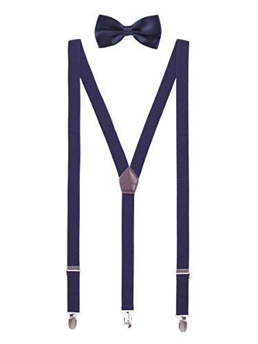 WANYING Herren Jugendliche 2,5cm Y-Form 3 Clips Hosenträger & Fliege 2 in 1 Set Casual Business Party Hochzeit - Einfarbig Navy Blau