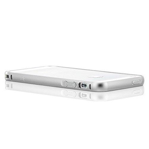 Saxonia Custodia + 2x Vetro Temperato Apple iPhone 7 Ultra Slim Custodia di alluminio Case Cover Slim Bumper Telaio del Respingente Antiurto | Alta Qualità di Protezione Sottile e Elegante Design Jet  Argento