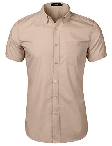 iClosam Herren Kurzarm Hemd Regular fit Hemden für Freizeit,Anzug, Hochzeit (Khaki, Small)