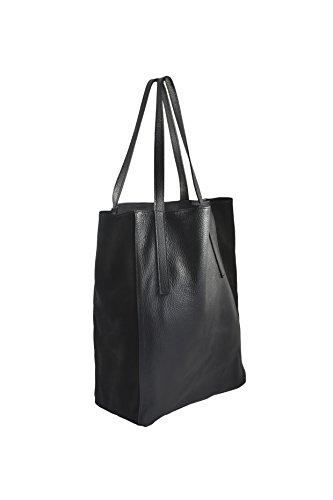 Shopper Leder Schwarz - Tasche aus hochwertigem italienischen Alce-Leder und Wildleder - Edel und exklusiv. Handmade in Milano in einer traditionellen Familien-Manufaktur - Day to Day
