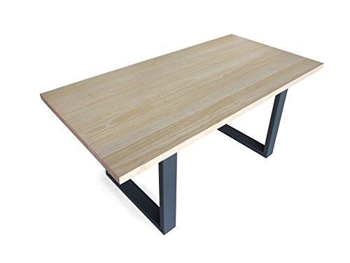 Kufentisch Esstisch mit Kufen Gestell 180x90cm, Pinie Massivholz ohne Baumkante, Metall Fuß in Industrie- Look, Tischplatte 40mm stark Farbton Pinie Natur, für Esszimmer Wohnzimmer Büro oder Küche