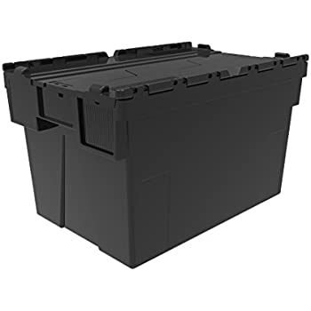 10 x Attached Lidded Plastic Box 65 Litres - Recycled Plastic Storage Box Container Crate Tote with Tessellated Lid Design - Attached Lid Box