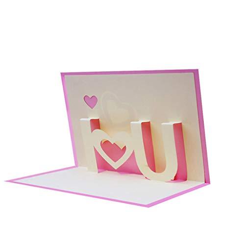 GROOMY 3D ICH Liebe Dich Pop Up Grußkarten Happy Birthday Lover Valentines Jahrestag