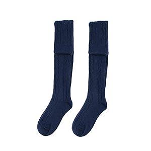 BESTOYARD Gestreifte Kniestrümpfe Überknie Strümpfe Herbst Winter Socken für Frauen Mädchen 1 Paar (Marine)