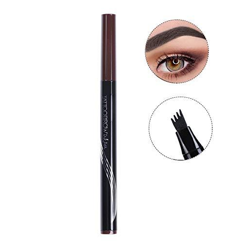 Turelifes tatouage crayon à sourcils avec 4 conseils longue durée imperméable à leau gel pour les yeux Maquillage (NOIR MARRON)