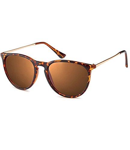 rille Panto Damen Herren Hornbrille Metallbügel Vintage verspiegelt + getönt - 139 (Big - Hornstyle - braun getönt-polarisiert-14004) ()