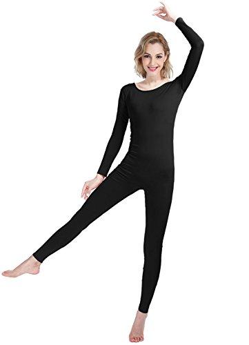 sitzend Spandex Lycra Body Langarm Scoop Ausschnitt Footless Body Unitard (black, XS) (Kinder Costomes)