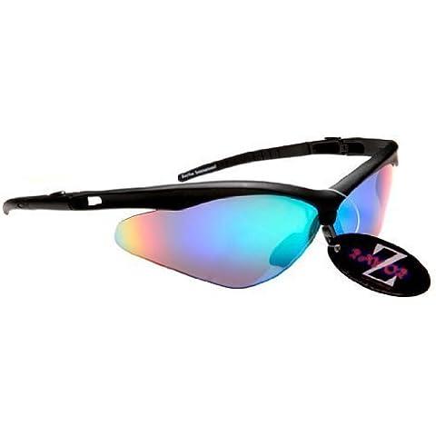 Rayzor profesionales ligeros negros UV400 Deportes Wrap ciclismo Gafas de sol, con un anti-deslumbramiento de lente espejo Azul Verde Iridium Revo