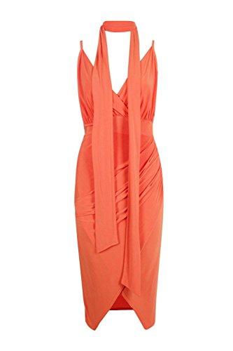 Orange Hommes Freyja Slinky Emballage Tie Detail Midi Robe Orange