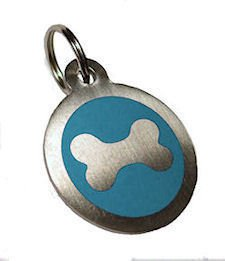 Personalised Engraved 25mm Stainless Steel Blue Bone Dog Pet ID Tag.......TO LEAVE ENGRAVING DETAILS PLEASE READ PRODUCT DESCRIPTION LOWER DOWN THIS PAGE.