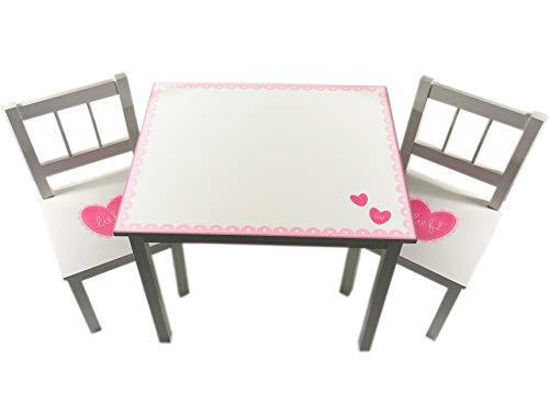 Lifestyle Kindertisch mit 2 Stühlen Kinder Stuhl Tisch Set Kindermöbel NEU 3tlg. (Weiß/Pink) -