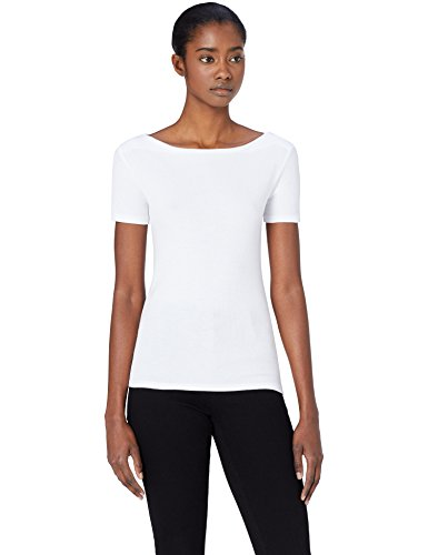 MERAKI Damen T-Shirt mit U-Boot-Ausschnitt, Weiß (White), Large