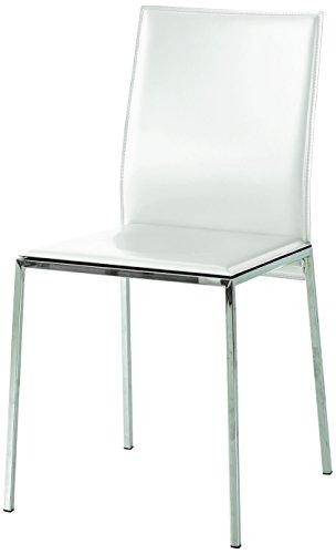 Fashion Commerce - FC660 - 2 chaises en Simili Cuir Blanc - 88 x 44 x 38 cm