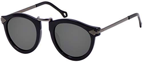 La Optica B.L.M. UV400 CAT 3 CE Damen Sonnenbrille Rund ohne Nasensteg - Glänzend Schwarz (Gläser: POLARISIERT Grau)_LO15 Bl P B-Grey