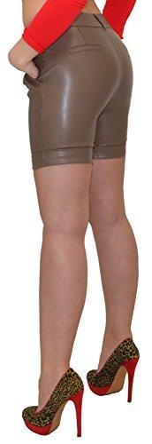 by-tex Damen Shorts Damen kurze Hose Damen Ledershorts Lederimitat in 4 Farben H27 Cappuccino