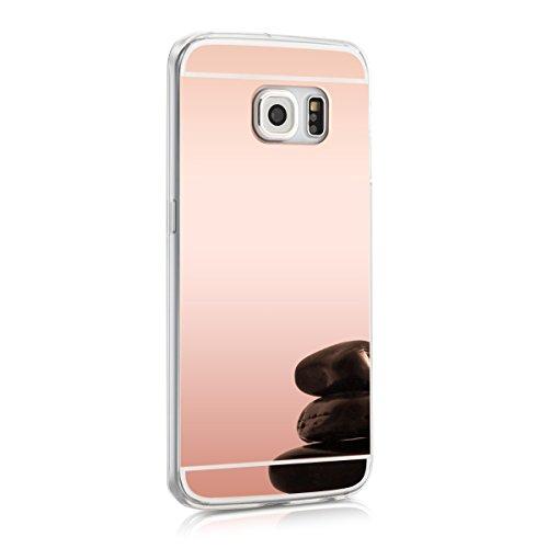 kwmobile Hülle für Samsung Galaxy S6 Edge - TPU Silikon Backcover Case Handy Schutzhülle - Cover Rosegold spiegelnd