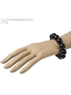 70er Disco Perlen-Armband schwarz Einheitsgröße