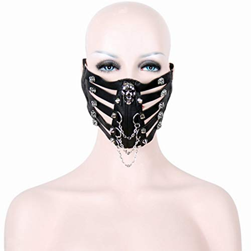 Hungrybubble Schädel Niet Stil Motorrad Anti Staubmaske Half Face Gothic Steampunk Biker Männer Cosplay Wind Cool Punk Halloween Maskerade Maske (Color : Black)