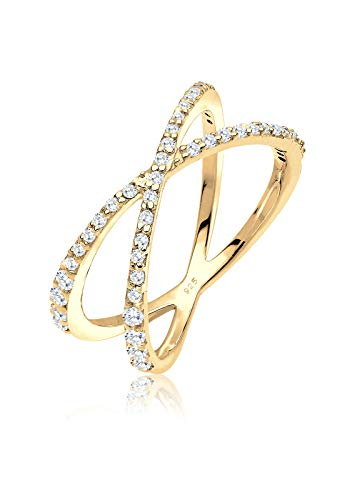 Elli Damen Ring Kreuz Zirkonia vergoldet 925 Sterling Silber Brillantschliff gold Größe: 56 mm 0610190215