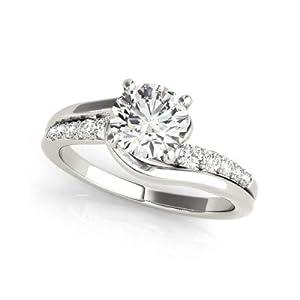Damen-Ring Verlobungsring 14 Karat (750) Weißgold 0,75 Karat Diamant Rundschliff Größe P O L K J H N M Q