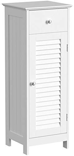 VASAGLE Badezimmerschrank Badschrank Nachttisch Regal Aufbewahrung für Badezimmer aus Holz mit Schublade Lamellentür weiß 32 x 87 x 30 cm (B x H x T) BBC43WT