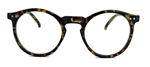 50er Jahre Nerd Brille Vintage Look Streberbrille Rockabilly runde Hornbrille clear lens N1554 (15 braun)