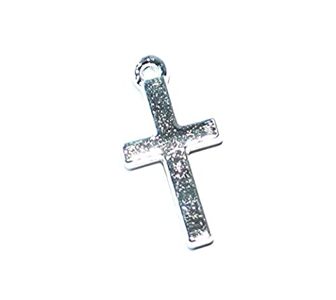 Markylis - x10 Silver Plated Large Cross / Crucifix Charms / Pendants for Jewellery Craft - 18x9