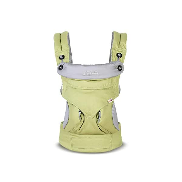 SONARIN 4-in-1 Convertible Baby Carrier,Sunscreen Hood,Ergonomic,for Newborn to Toddler(3-48 Months),Maximum Load 20kg,Front Facing Baby Carrier,Child Carrier Backpack(Green) SONARIN Applicable age and Weight:3-48months of baby, the maximum load:20KG, and adjustable the waist size can be up to 47.2 inches (about 120 cm). Material:designers carefully selected soft and delicate 100% Cotton fabric.Soft machine wash,do not fade,ensure the comfort and breathability,high strength,safe and no deformation,to the baby comfortable and safe experience. Description:Patented design of the auxiliary spine micro-C structure and leg opening design,natural M-type sitting.Adjustable back panel that grows with baby and offers head and neck support with sleeping hood that provides UV50+ sun protection. 1