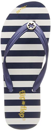 flip*flop Damen goldflower Stripe Zehentrenner, Schwarz (Deep Night 0320), 41 EU