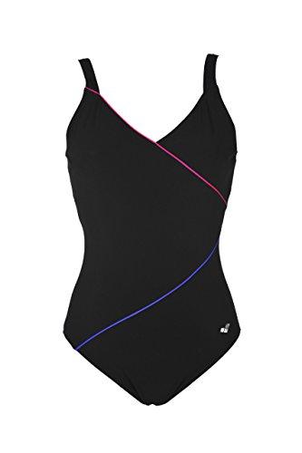 Arena Damen Bodylift Badeanzug Tiffany C-Cup Badeanzug, Schwarz (Black-Rose Violet-Bright Blue (509)), 40 (Herstellergröße: 46)