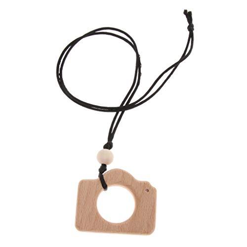 B Baosity Baby Natürliche Holz Zahnenring Ring Häkeln Perlen Kamera Muster Teether Spielzeug - Kamera -