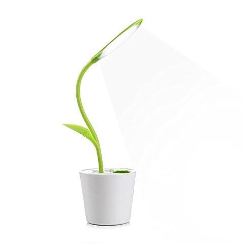 Lampe de Bureau sans Fil en Forme d'arbre et Pot à stylo avec 3 modes d'Éclairage Luminosité Ajustable Tactile Rechargeable USB Lampe de Lecture Lampe de Chevet - Vert