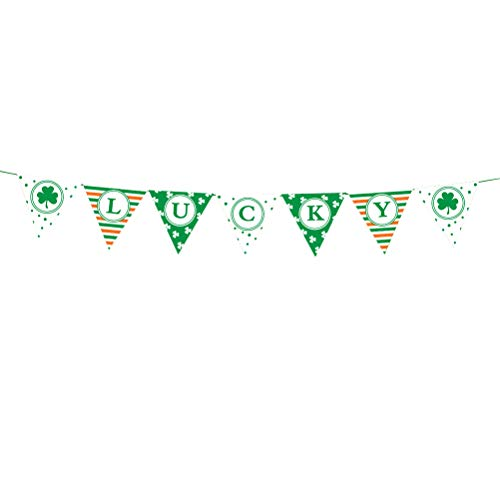 Amosfun St. Patrick's Day GLÜCKLICHE Banner Leinen Banner Dekor für Irish Festival Party Sammeln Dekoration 3M