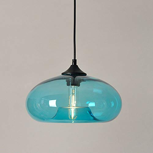 Pendellampe mit Glas Schatten Vintage E27 Pendelleuchte Esstisch Esszimmer Höhenverstellbar Blau Retro Glaslampe Hängeleuchte Schlafzimmer Bar Cafe Küche Theke Couchtisch Dekor Deckenlampe