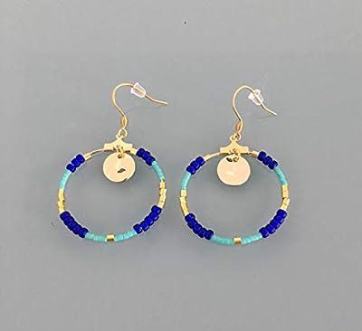 Boucles d'oreilles créoles dorées et bleu marine, bijou pour femme, creoles dorees, bijou doré, bijoux cadeaux, cadeau femme, bijou femme