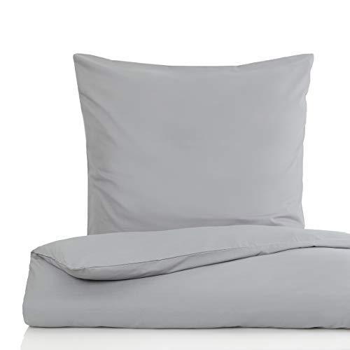 Lumaland Premium Bettwäsche Everyday Ganzjahres Bettbezug YKK Reißverschluss Bettdecke 155 x 220 cm & Kopfkissen 80 x 80 cm Cool Grey